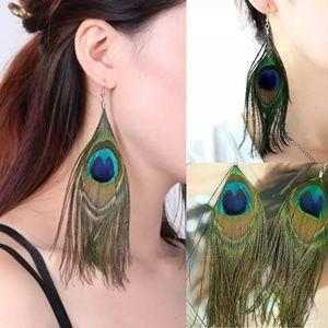 Jewelry - 🦋HOST PICK* Peacock Feather Earrings